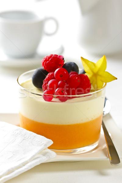 Joghurt gyümölcs desszert finom friss felszolgált Stock fotó © hansgeel
