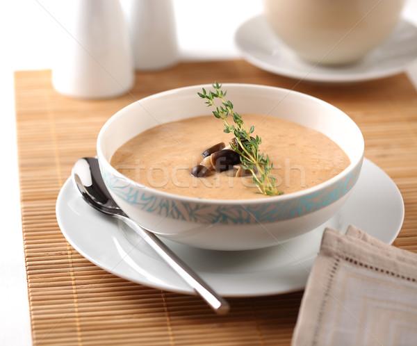 Gomba krém leves tál étel Stock fotó © hansgeel