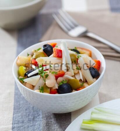 Bab salátástál saláta paprika hagyma olajbogyók Stock fotó © hansgeel