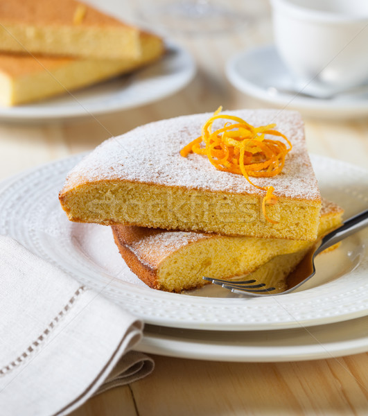 Szeletek citrom torta tányérok asztal tányér Stock fotó © hansgeel