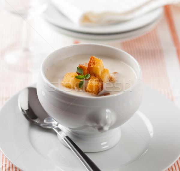 Crème soupe bol frit pain Photo stock © hansgeel