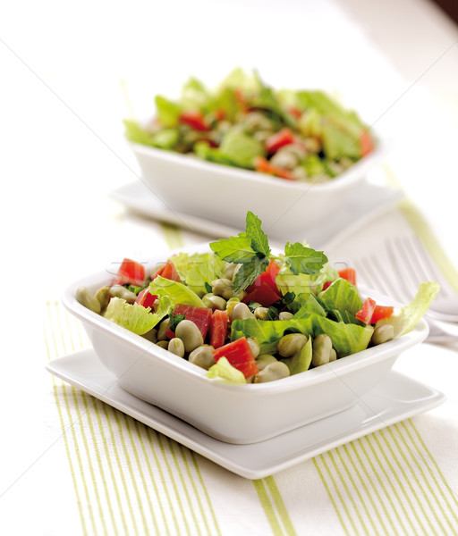 Bab saláta bab aszalt sonka saláta Stock fotó © hansgeel