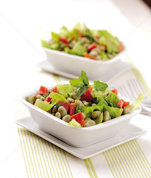 Bean salade fèves séché jambon laitue Photo stock © hansgeel