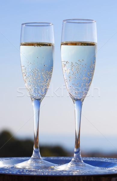 Stock fotó: Pezsgő · kettő · szemüveg · terasz · étel · bor