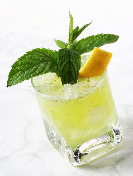 Citron menthe boire verre fraîches glace Photo stock © hansgeel