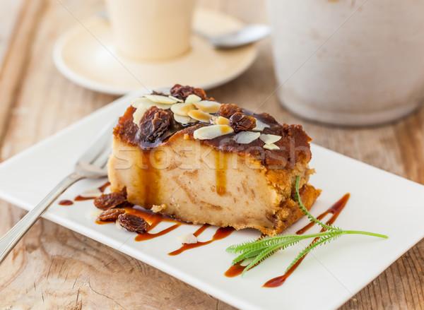 Kenyér puding házi készítésű rusztikus asztal kávé Stock fotó © hansgeel