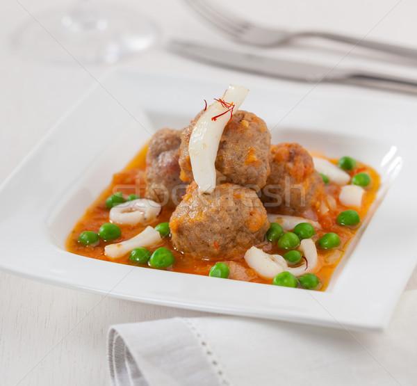 Boulettes de viande sauce tomate squid vert pois Photo stock © hansgeel
