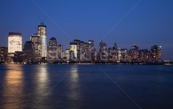 New York belváros Freedom Tower sziluett szürkület üzlet Stock fotó © hanusst