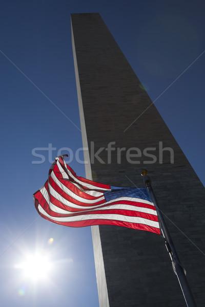 USA zászló sötét égbolt Washington-emlékmű szél Stock fotó © hanusst