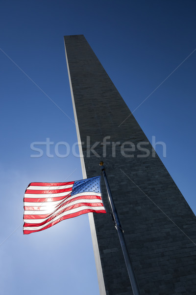 USA flag dark sky and Washington Monument Stock photo © hanusst