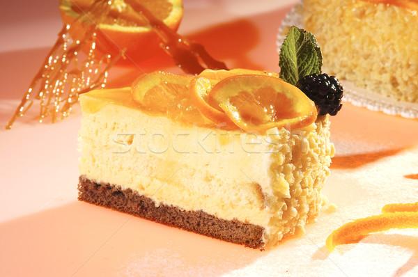 Orange gâteau crème sol noix menthe Photo stock © hanusst