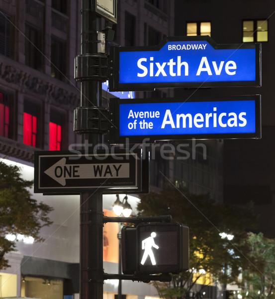 New York City angolo broadway ovest segnale stradale città Foto d'archivio © hanusst