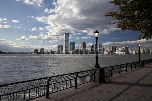New Jersey nehir iş gökyüzü ev saat Stok fotoğraf © hanusst