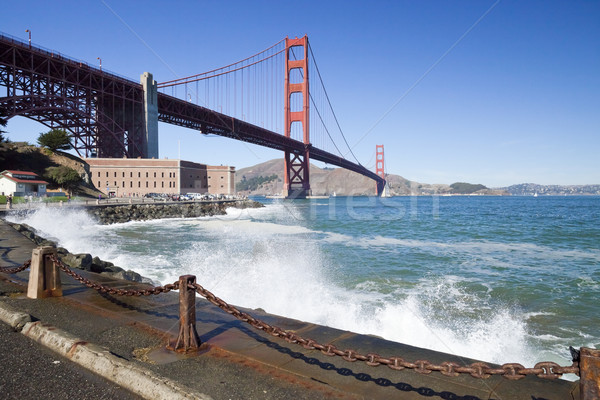 Stock photo: Golden Gate Bridge with the waves