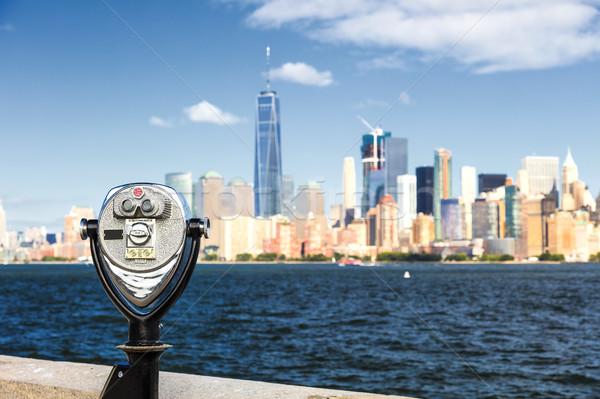 New York belváros sziluett délután Freedom Tower égbolt Stock fotó © hanusst