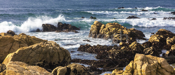 Beautiful scenery on the sea shore, the waves and huge rocks Stock photo © hanusst