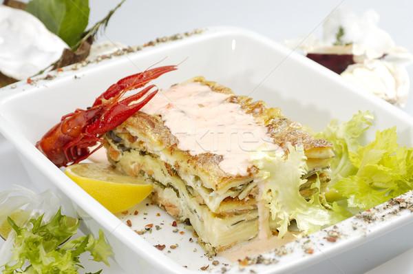 Foto d'archivio: Italiana · lasagne · tradizionale · sfondo · formaggio · cena