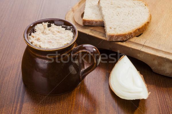 Carne de porco pote escuro pão frito cebola Foto stock © hanusst