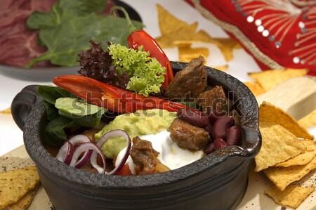 Wołowiny sałata cebula pierścienie restauracji mięsa Zdjęcia stock © hanusst