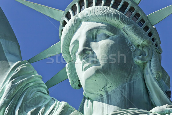 Heykel özgürlük ada New York mavi adalet Stok fotoğraf © hanusst