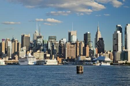 New York belváros Freedom Tower 2014 sziluett délután Stock fotó © hanusst