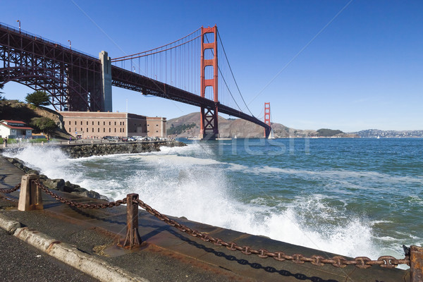 The Golden Gate Bridge w the waves Stock photo © hanusst