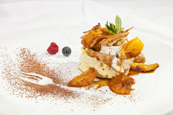 Crepe pancake with whipped cram and fruit Stock photo © hanusst
