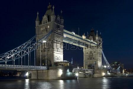 Tower Bridge Londra notte business acqua costruzione Foto d'archivio © hanusst