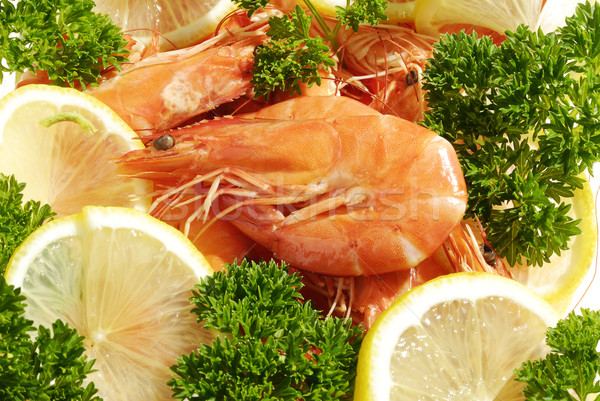 Vermelho limão salsa comida peixe mar Foto stock © hanusst