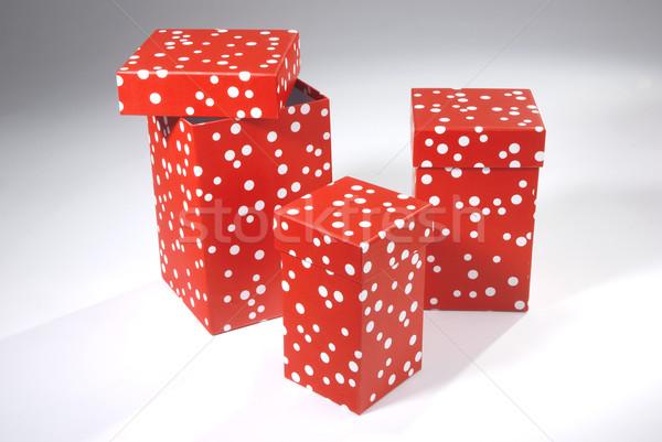 Trois coffrets cadeaux rouge Valentin cases blanche Photo stock © hanusst