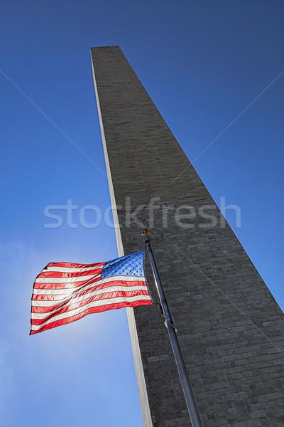 Washington Monument bandiera tramonto cielo città blu Foto d'archivio © hanusst
