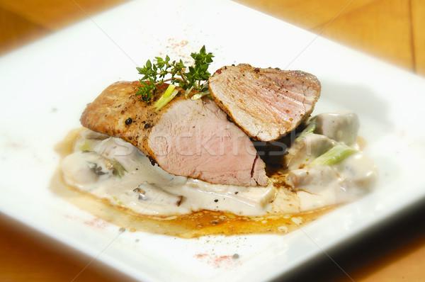 Carne de porco lombo de vaca cogumelo verde boca Foto stock © hanusst