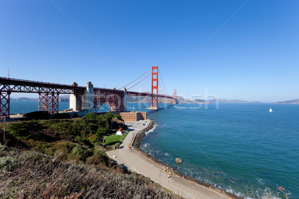 Golden Gate Bridge San Francisco céu água estrada cidade Foto stock © hanusst