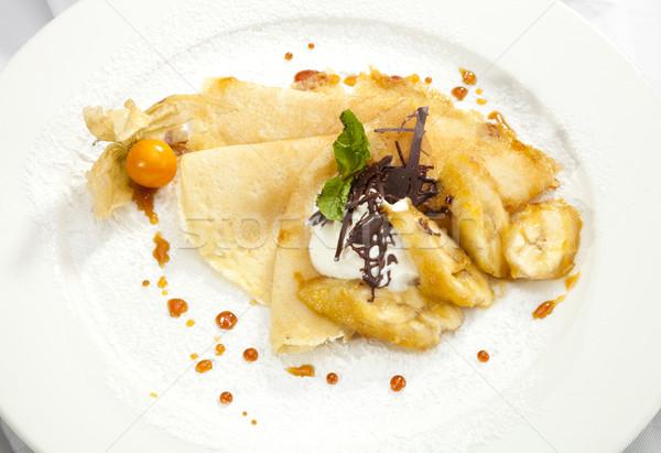Crêpe pannenkoek banaan gegrild chocolade voedsel Stockfoto © hanusst