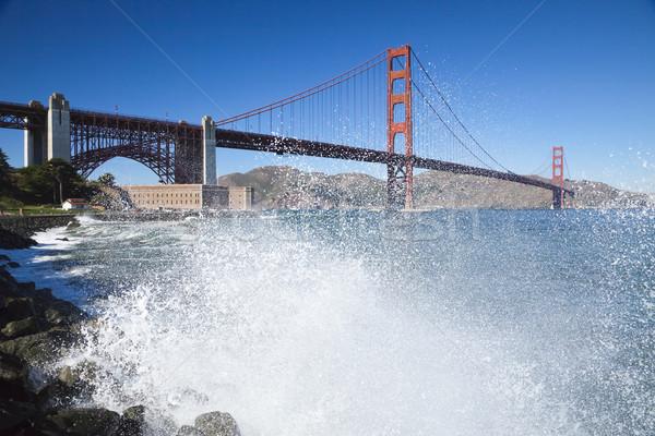 Photo stock: Golden · Gate · Bridge · vagues · San · Francisco · ciel · eau · route