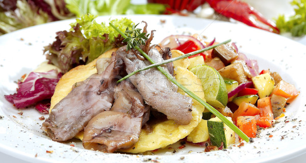 Grillés légumes tortilla alimentaire poissons mer Photo stock © hanusst