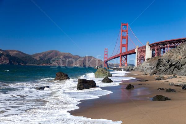 ゴールデンゲートブリッジ 波 サンフランシスコ 空 水 道路 ストックフォト © hanusst