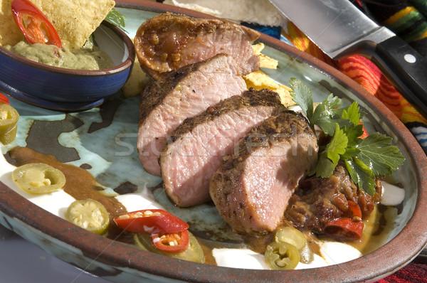 Cerdo solomillo mexicano salsa verde Foto stock © hanusst