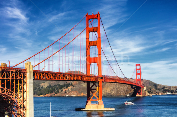 Golden Gate Bridge città San Francisco cielo acqua albero Foto d'archivio © hanusst