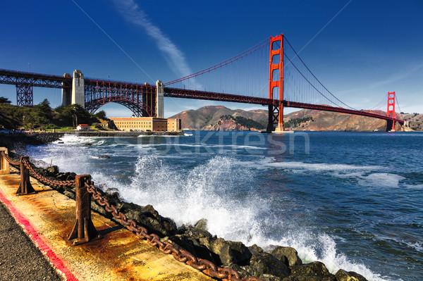 Golden Gate Bridge fort punt hemel water weg Stockfoto © hanusst