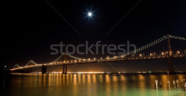San Francisco brug nacht hemel gebouw bouw Stockfoto © hanusst