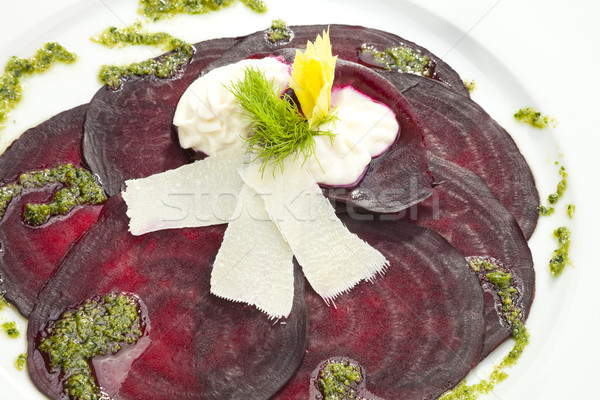 Vegetarian Beetroot Carpaccio w goat cheese and Pesto Stock photo © hanusst