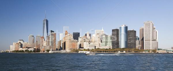 Нью-Йорк центра Skyline после полудня Финансовый район облака Сток-фото © hanusst