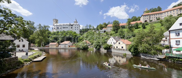 Rozmberk City - Czech Republic, June 27, 2011: Canoeists on the  Stock photo © hanusst