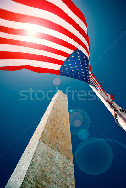 Washington Anıtı bayrak şehir güneş Yıldız star Stok fotoğraf © hanusst