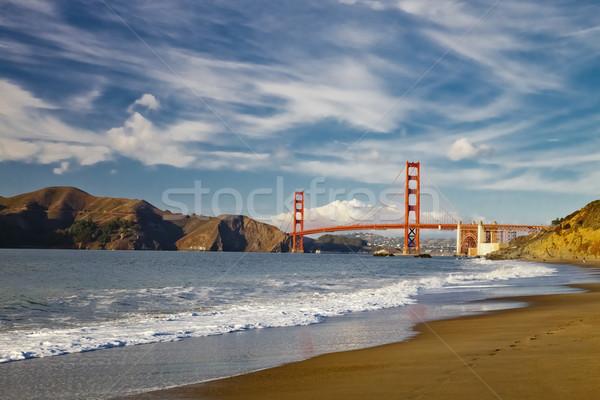 Golden Gate Bridge golven San Francisco hemel water weg Stockfoto © hanusst