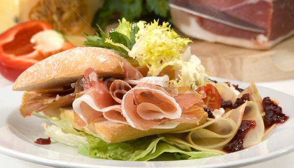 Americano sanduíche queijo cheddar queijo pão jantar Foto stock © hanusst