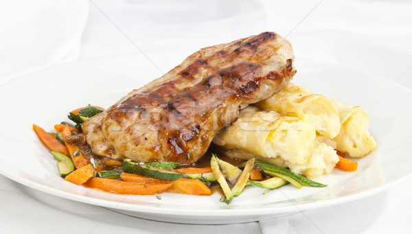 Pork Loin End with Potato rolls  and vegetable Stock photo © hanusst
