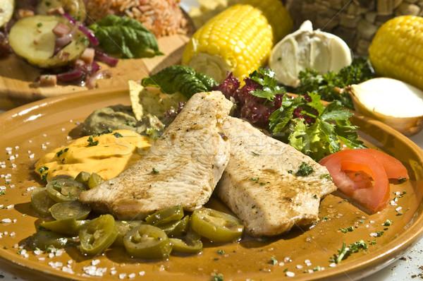 Grilled pork tenderloin mexican style Stock photo © hanusst