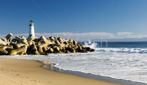 Stock photo: Lighthouse Walton on Santa Cruz Shore